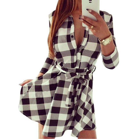 Plaid Flannel 3/4 Sleeve Mini Shirt Belted Dress Cute Boutiques