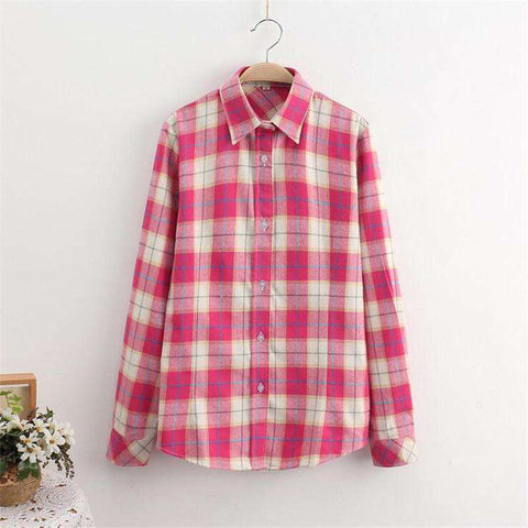 Plaid Shirt College Style Women's Blouses Long Sleeve Flannel