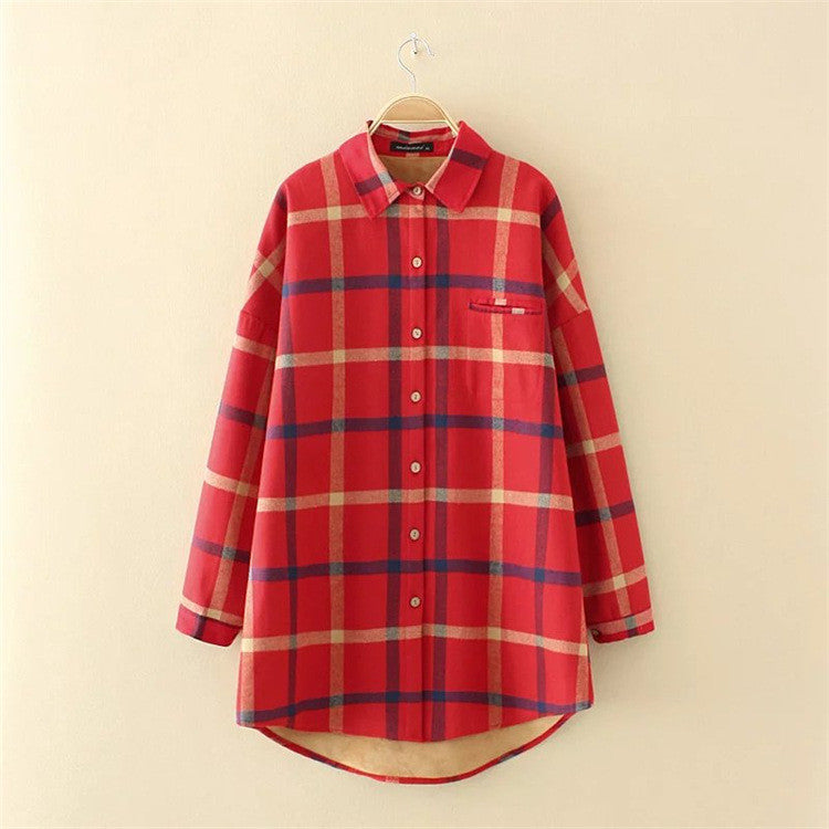 Thick Cashmere Cotton Long Sleeved Women Plaid Shirt Flannel Offer