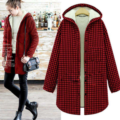 Cotton Long-Sleeved Thick Velvet Women's Plaid Flannel Shirt