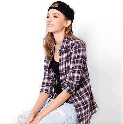 Plaid Checks Flannel Long Sleeve Turn Down Collar Shirt