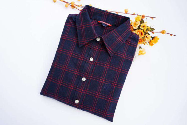 Women Vintage Preppy Long Sleeve Flannel Thicken Cotton Plaid