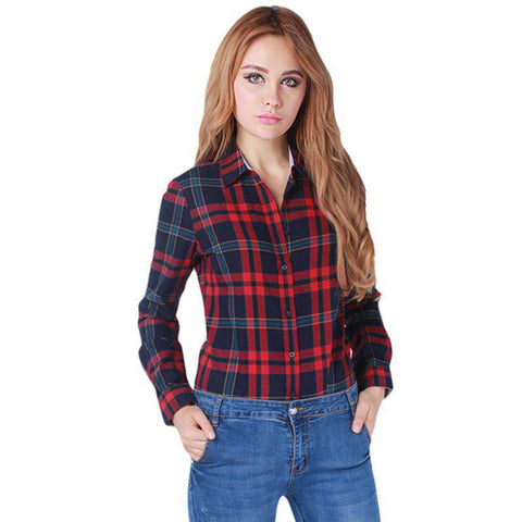 Plaid Long Sleeve Flannel Cotton Turn-Down Collar Blouse