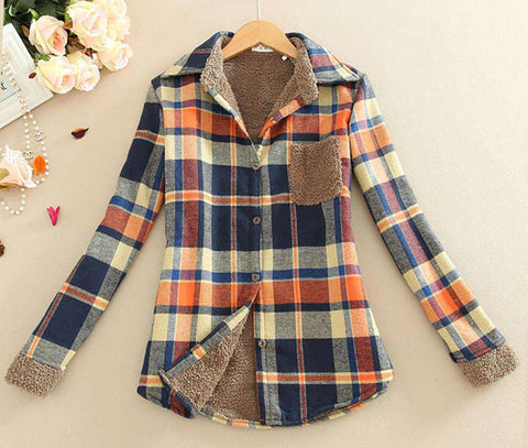 Offer Flannel Body Shirt Plus Thick Velvet Plaid Ms. Long-Sleeved