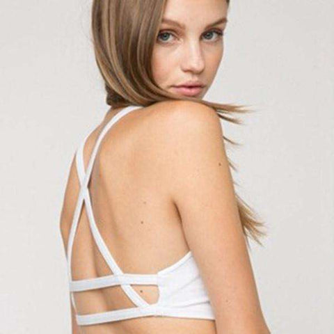 Bralette Crop Top Caged Back Cut Out Padded Bra