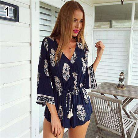 Long Sleeve Deep V-neck Floral Printed Beach Rompers