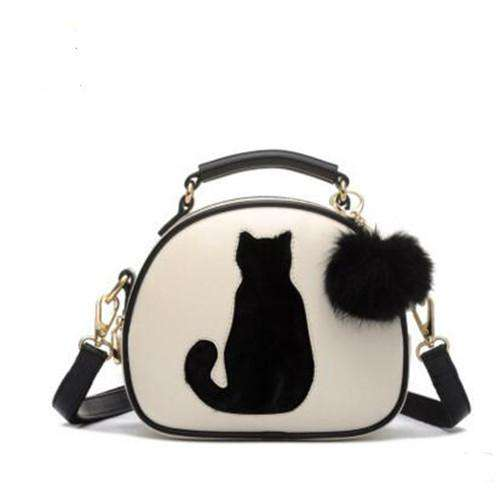 Circle Cat Printing Ladies Crossbody Leather Handbag