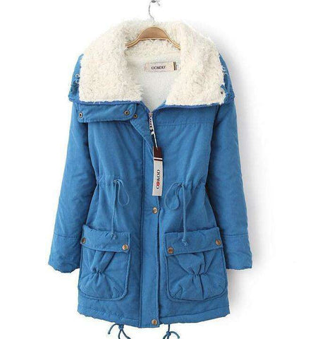 coat women slim medium-long wadded jacket
