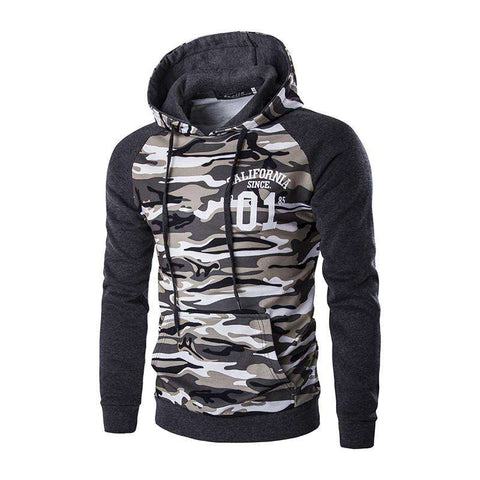 Men's Military Printing Pullovers Sweatshirts Casual Hooded Hoodies