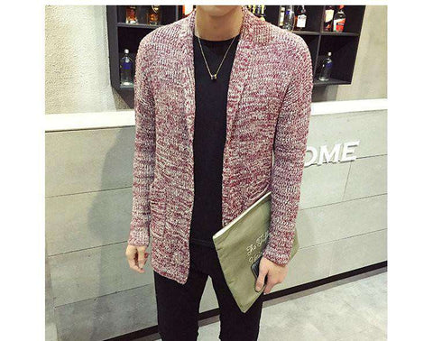 Knitted Sweater Men Solid Casual Slim Long Cardigan