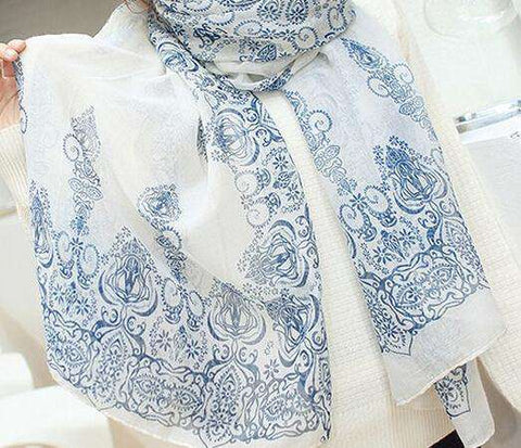 Scarf Women Blue And White Slik