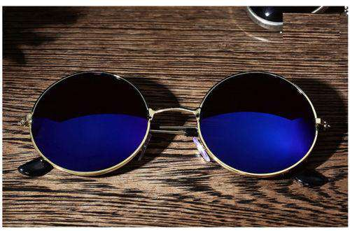 Men Retro Vintage Round Mirrored Sunglasses Eyewear
