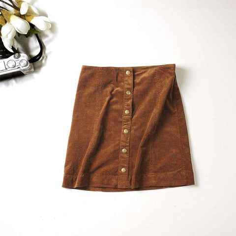 Single Breasted High Waist Mini Skirts Brown