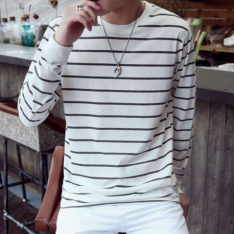 Casual Striped Men's Long Sleeved Cotton T Shirt