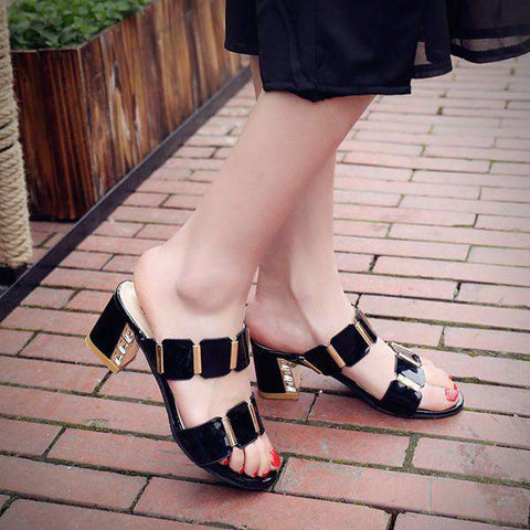 Rhinestone Sandals Women Thick Heel