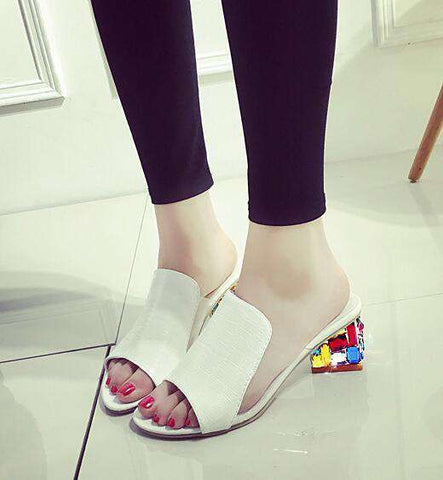 Rhinestone Peep Toe Heels Women Sandals