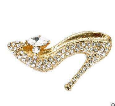 Crystal High Heel Desgin Brooch Pin For Women