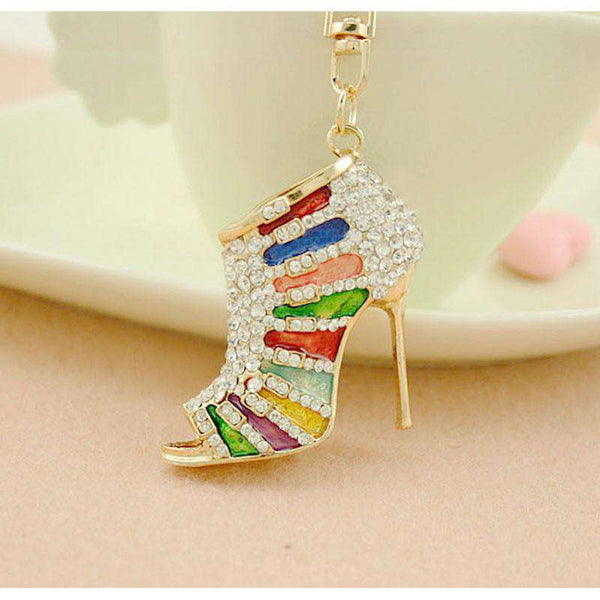 Alloy Women Crystal High Heel Shoes Keychain