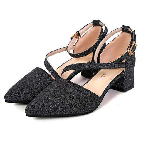 Low High Heels Sandals Ladies Shoes