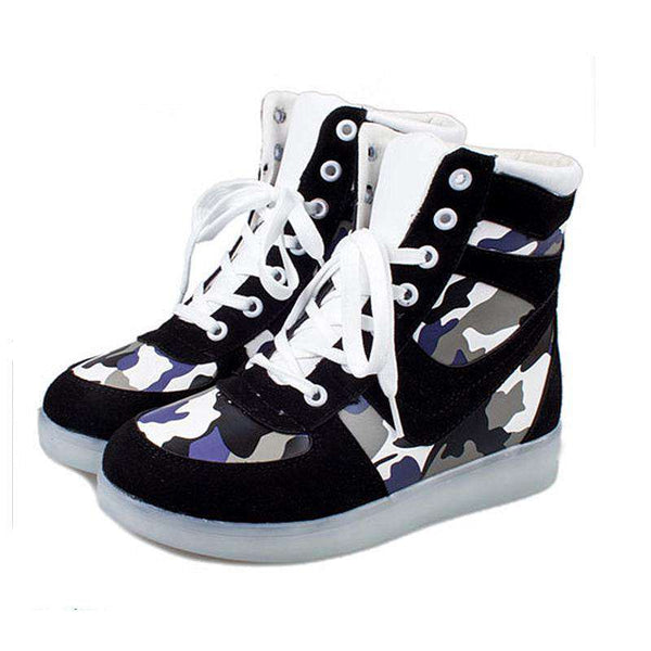 LED High-Top Skateboarding Shoes Women
