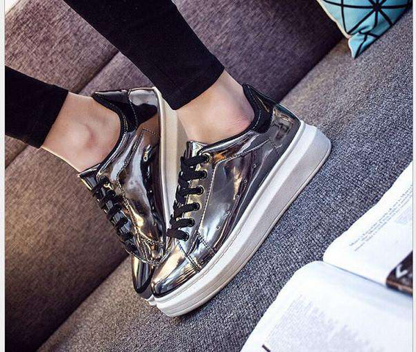 Casual Shoes Woman Glossy Flat Shoes Sneaker