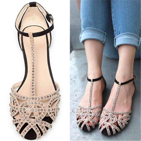 Rhinestone Flat Sandals For Women