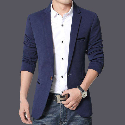 Blazer Men Small Slim Long Sleeve Cotton Suits