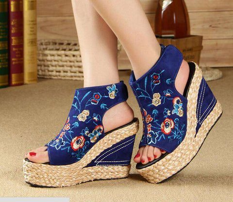 High Platform Wedges Embroidered For Women