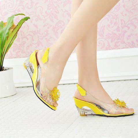 Crystal Wedges Transparent Women High-heeled