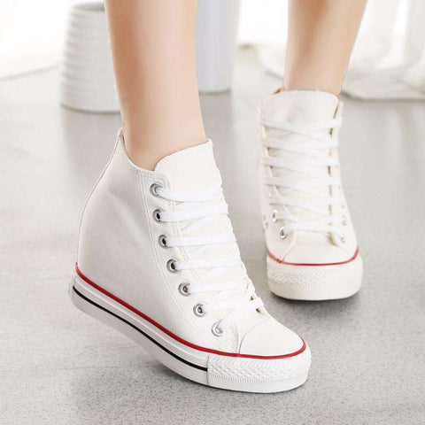 Breathable Women Lace-up Canvas wedges