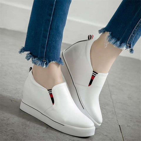 PU Leather Shoes Woman Wedge