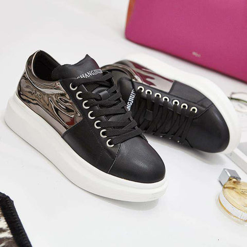 Leather Sneakers Women Lace Up
