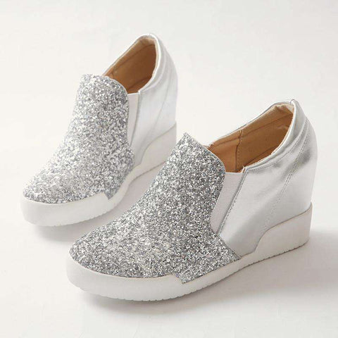 Leather Women Casual Shoes Wedges