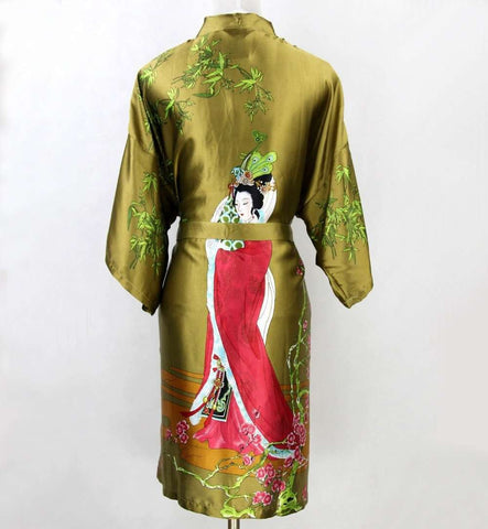 New Green Hot Sale Women Silk Kimono Robes Gown