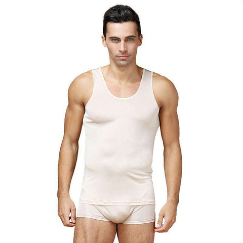 100% Pure Silk Men's Undershirts Sleeveless Tank O-neck