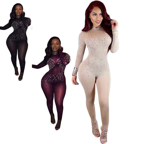 Women Black Mesh Jumpsuits Long Sleeve Party