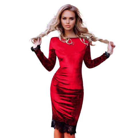 Casual Lace Stitching Long Sleeve Dress Velvet  Black