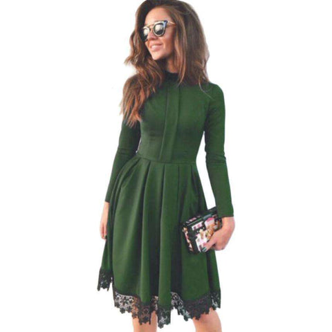High Collar Long Sleeve Vintage Women Party Dresses
