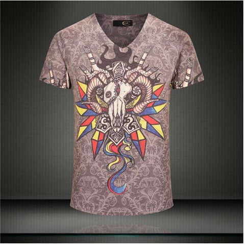 Casual Short Sleeve T-Shirt  Cotton Mens 3D Printed