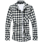 Casual Plaid Slim fit Male Shirts Long Sleeve