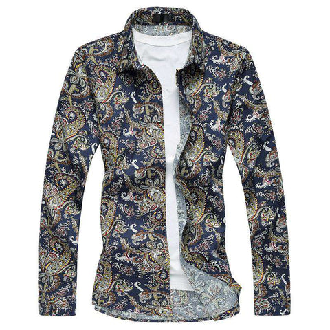 Floral Print Shirt Plus Size Long Sleeve Men's Vintage