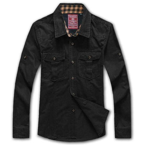 for men long-sleeve cotton loose military tooling Casual Shirts