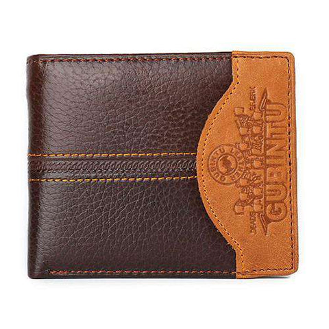 Genuine Leather Men's Wallets 3 Short Design Patchwork