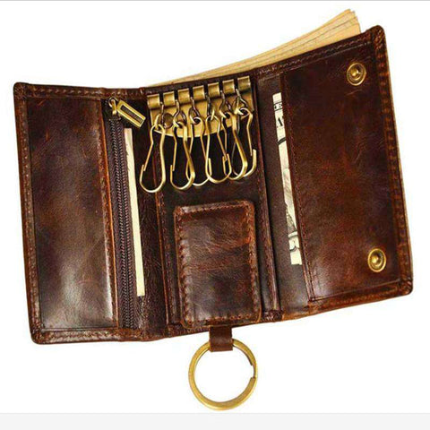 Men's Genuine Leather Car Wallet Multi Function Key