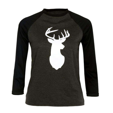 Deer Print Long Sleeve T Shirt Women Black