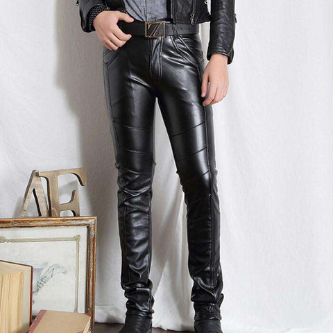 Faux Leather Pants Skinny Motorcycle Riding Pants Slim Fit Trousers