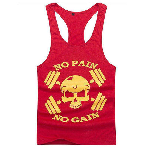 Fitness Men Tank Top Skull Letter Print Vest Stringer