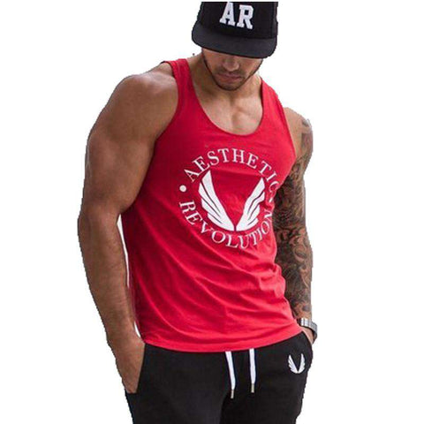 Gold Cotton Tank Top Men New Muscle Stringer Singlet Jersey Clothing