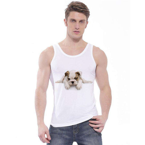 Man's White Tank Tops Lovely Dog Print 10 Colors Vest Round Neck
