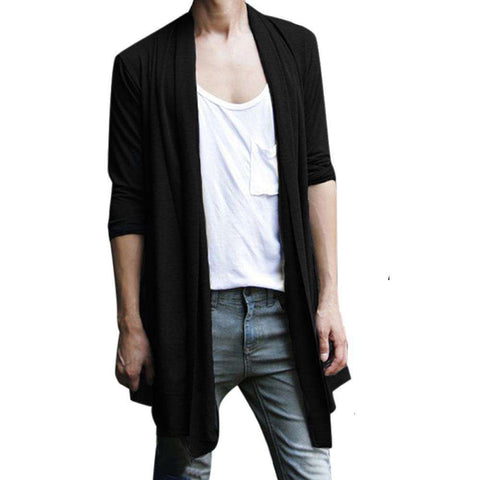 Men Shawl Collar Open Front Pockets High-Low Hem Long Cardigan
